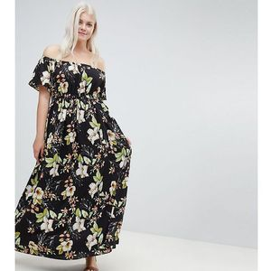 printed bardot maxi dress - multi, Lovedrobe