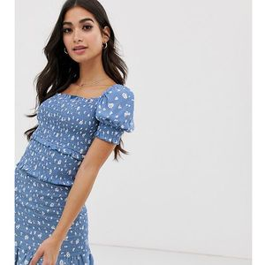 shirred milkmaid top in blue floral - blue, River island petite