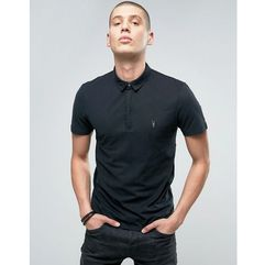 AllSaints polo shirt with branding - Black, kolor czarny