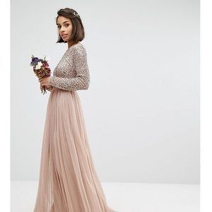 Maya Petite Long Sleeved Maxi Dress with Delicate Sequin and Tulle Skirt - Brown