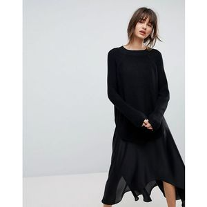 H.One 5 Yarn Wool Blend Boat Neck Jumper - Black, wełna