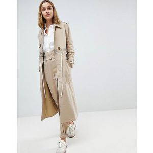 Asos white trench coat co-ord with rope detail - stone