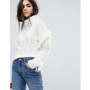 Prettylittlething roll neck fringe detail jumper - cream