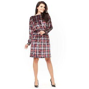 543cc05587 Wzorzysta sukienka z gumkami w talii w kratkę