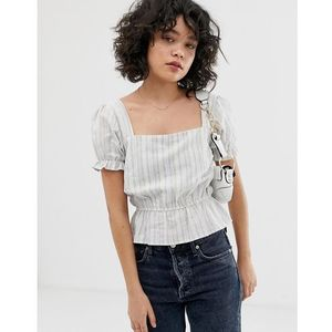 Wild Honey top with shirred bodice in subtle stripe - White