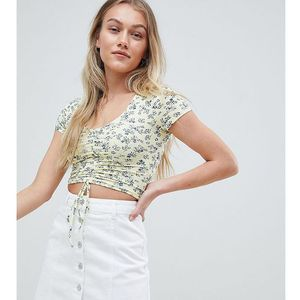 New Look Petite floral ruched front top in yellow - Yellow