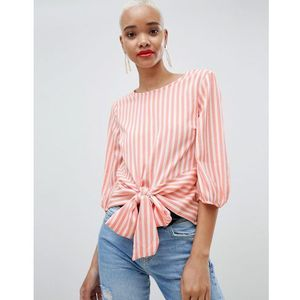 Pieces Stripe Tie Front Blouse - Multi