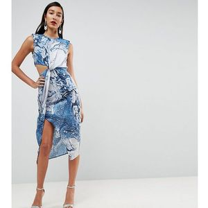 Asos tall twist front midi pencil dress in abstract print - multi