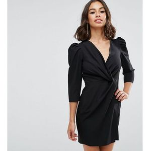 wrap front mini dress - black, Asos petite