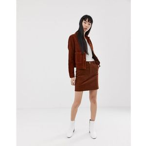 skirt with button front in cord - tan marki New look