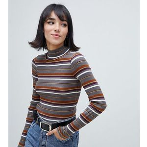 Stradivarius STR high neck stripe long sleeve top - Grey