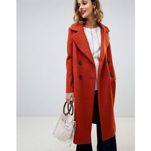 double breasted tailored coat in tan - brown marki River island