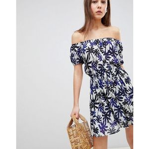 zora off shoulder dress in palm print - blue marki Brave soul