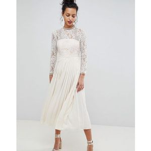 Little mistress sheer lace top midaxi dress with pleated skirt - cream