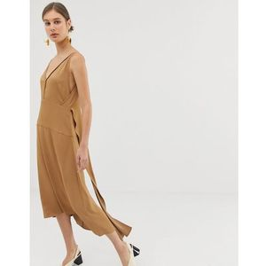 v back dress - brown, Asos white