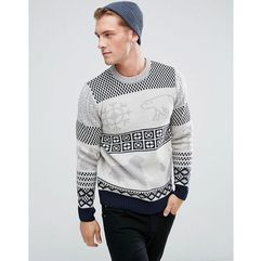 Bellfield Polar Animal Jacquard Jumper - Cream, kolor beżowy