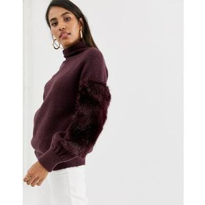 French Connection high neck faux fur jumper - Purple, w 2 rozmiarach