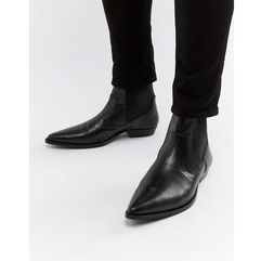 Asos design cuban heel western boots in black faux leather - black
