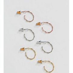 Accessorize 3 pack gold plated hoops - Gold