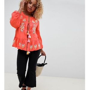 smock top with embroidery and tassle ties - orange, Glamorous petite
