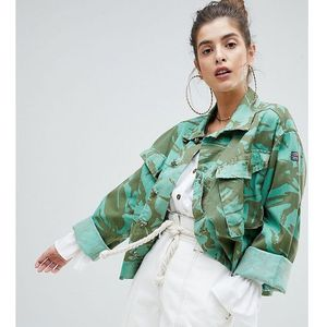 Reclaimed Vintage revived cropped overdyed camo jacket - Green, 1 rozmiar