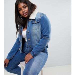 denim jacket with faux shearling collar - blue marki Brave soul plus