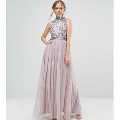 Amelia rose embellished maxi dress with tulle skirt - purple