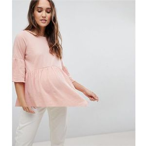 Mamalicious tiered top with fluted sleeve - pink, Mama.licious, 34-42
