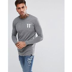 muscle long sleeve t-shirt in grey - grey marki 11 degrees