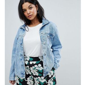 Brave Soul Plus Frida Denim Jacket with Frill Detail - Blue, kolor Blue