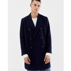 ASOS DESIGN wool mix double breasted overcoat in navy - Navy, kolor szary