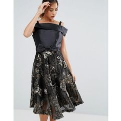 Amy lynn bardot skater dress with jacquard skirt - black