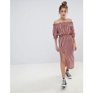 stripe co-ord midi skirt in multi - multi marki Pull&bear
