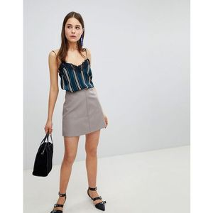 New Look Leather Look Mini Skirt - Grey
