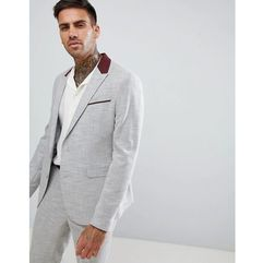 skinny suit jacket in light grey texture with floral lining - grey marki Asos design