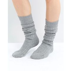 ASOS DESIGN cable long slouch socks - Grey, kolor szary