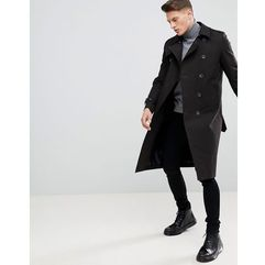 ASOS DESIGN shower resistant longline trench coat with belt in black - Black, w 3 rozmiarach