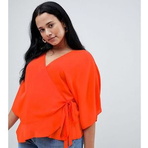 ASOS DESIGN Curve wrap top with kimono sleeve - Red, kolor czerwony