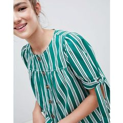 button through top in stripe - multi, Asos design