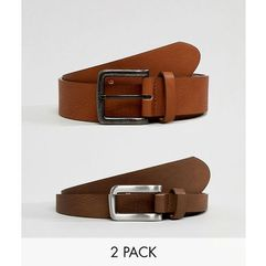 ASOS DESIGN 2 Pack Faux Leather Wide Belt In Tan And Brown Save - Multi