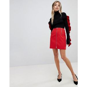 stretch zip mini skirt - red, French connection