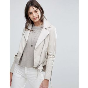 Lab Leather Biker Jacket with Belt - Grey