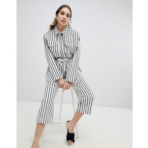 striped pocket detail utility jacket - white, Monki, 34-40