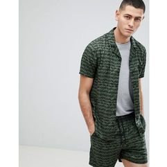 co-ord khaki print revere collar short sleeve shirt - green marki Another influence