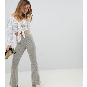 Miss selfridge petite wide leg trousers in check - multi