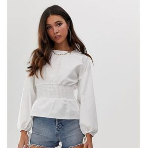 Missguided top with shirred waist in white - white