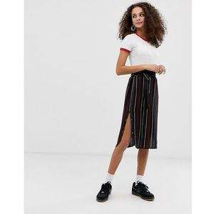 Brave Soul vixen midi skirt with split in stripe - Black