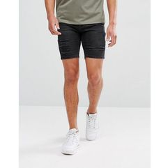 11 Degrees Super Skinny Denim Shorts In Black - Black