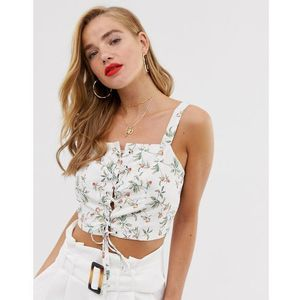 In the style x laura jade lace up panelled top in floral print - multi