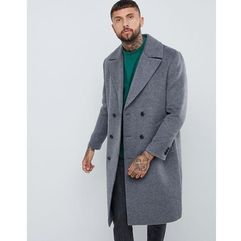 wool mix double breasted overcoat in charcoal - grey marki Asos design